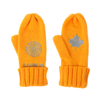 Winter knit custom acrylic mittens with embroidery logo