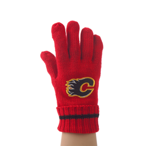 Warm Knit Red Acrylic Gloves with Embroidery