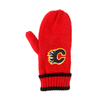 Unisex Warm Knit Red Acrylic Mittens with Embroidery